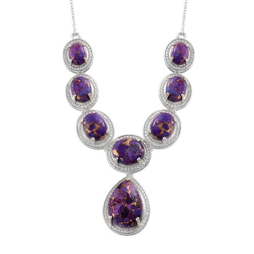 Mojave Purple Turquoise (Pear 10.50 Ct) Necklace (Size 18) in Platinum Overlay Sterling Silver 29.000 Ct.