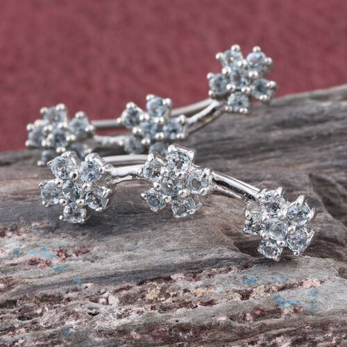 Espirito Santo Aquamarine (Rnd) Flower Climber Earrings in Platinum Overlay Sterling Silver 1.000 Ct.