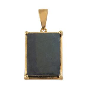 Natural Spectrolite (Bgt) Solitaire Pendant in 14K Gold Overlay Sterling Silver 6.000 Ct.