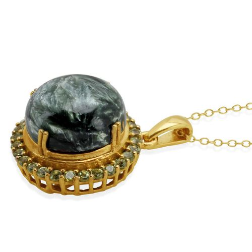 Siberian Seraphinite (Rnd 10.00 Ct), Hebei Peridot Pendant With Chain in 14K Gold Overlay Sterling Silver 10.750 Ct.