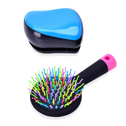 Set of 2 - Blue and Black Colour Styler and Pink Colour Rainbow Comb with Mirror