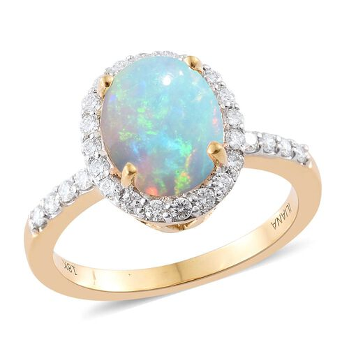 ILIANA 18K Yellow Gold 2.03 Ct AAAA Ethiopian Welo Opal Ring with Diamond SI G-H