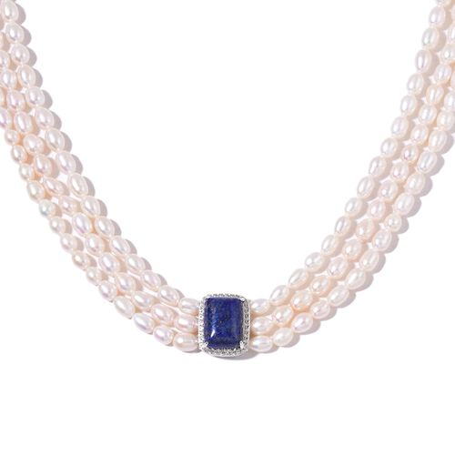 Hand Knotted Triple Strand High Lustre Pearl Necklace (36 Inch) with Lapis Lazuli and Natural Cambodian Zircon in Rhodium Plated Sterling Silver.