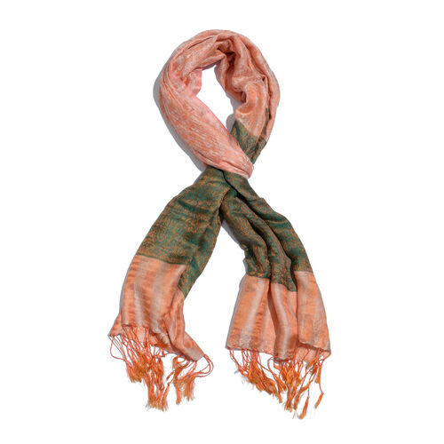 Superfine Silk Blend - Floral Pattern Green and Peach Colour Scarf (Size 210x80 Cm)