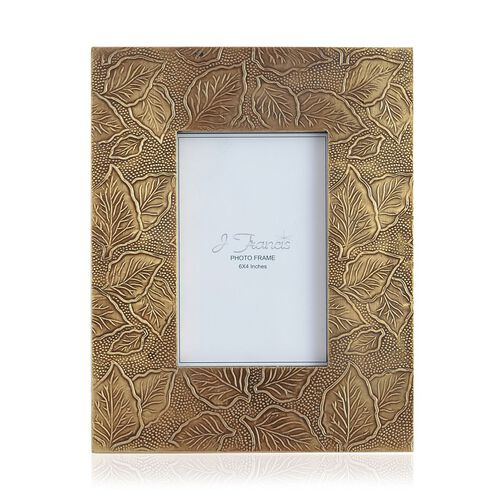 J Francis - Hand Crafted Embossed Leaf Pattern Wooden Photo Frame (Size 6x4 Inch)