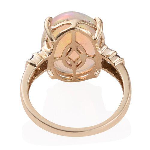14K Y Gold Ethiopian Welo Opal (Ovl 7.05 Ct), Diamond Ring 7.250 Ct.