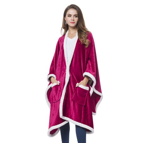 Italian Designer Inspired-Burgundy and White Colour Microfiber Flannel Wrap with Sherpa Border (Size 140X90 Cm)