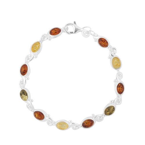 Baltic Multi Colour Amber (Ovl) Bracelet (Size 7.5) in Sterling Silver