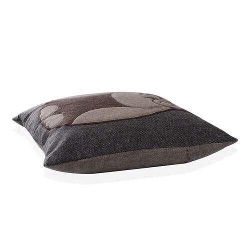 Beige Colour Owl Pattern Chocolate Colour Woolen Cushion (Size 43x43 Cm)