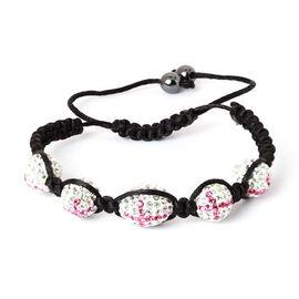 Hematite, Pink and White Austrian Crystal Bracelet (Adjustable)