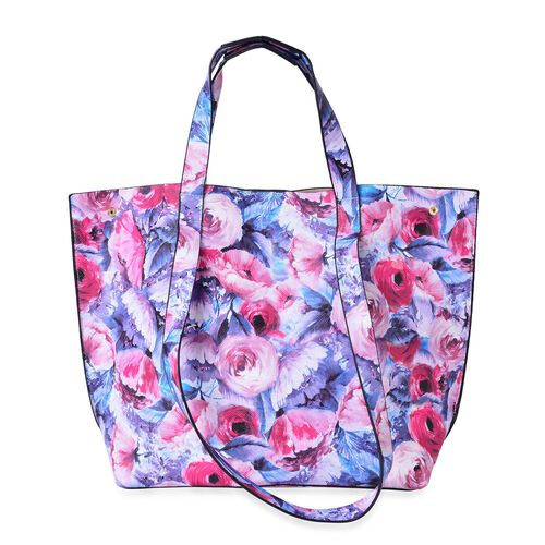 Designer Inspired - Blossom Floral Pattern Top Handle and Shoulder Handle Tote Bag (Size 47X33X33X13 Cm)