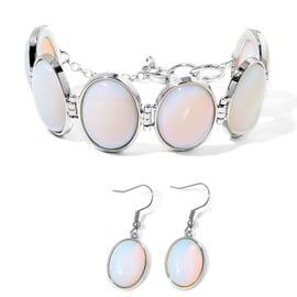 Opalite Bracelet (Size 7.5 with Half inch Extender) and Hook Earrings in Silver Tone 184.500 Ct.