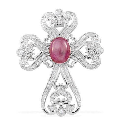 JCK Vegas Collection Star Ruby (Ovl 4.13 Ct), Natural Cambodian Zircon Pendant with Chain in Platinum Overlay Sterling Silver 6.145 Ct. Silver wt 6.30 Gms.