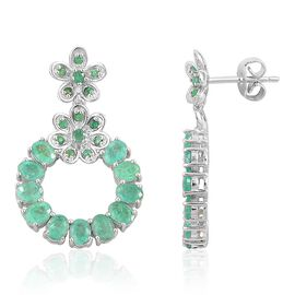 Kagem Zambian Emerald (Ovl) Earrings (with Push Back) in Platinum Overlay Sterling Silver 4.385 Ct.