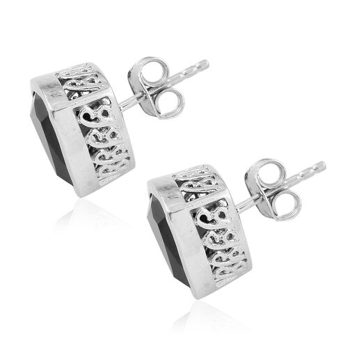 Boi Ploi Black Spinel (Trl) 8.75 Carat Silver Stud Earrings in Platinum Overlay (with Push Back)