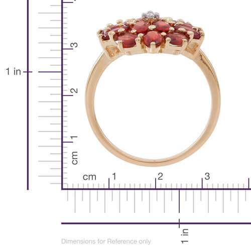 Exclusive Edition- 9K Y Gold Very Rare AAA Red Sapphire (Ovl), Natural Cambodian White Zircon Floral Ring 4.750 Ct.