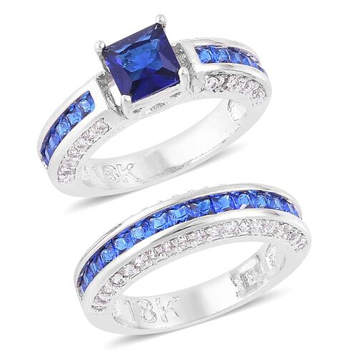 Set of 2 - AAA Simulated Blue Sapphire and Simulated White Diamond Ring in Silver Tone