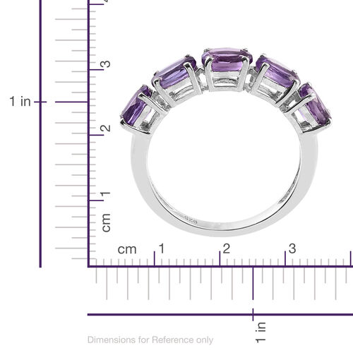Amethyst 2 Carat Silver 5 Stone Ring in Platinum Overlay