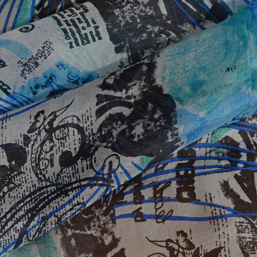 100% Mulberry Silk Blue, Black and Multi Colour Peacock Feather and Floral Handscreen Printed Scarf (Size 170X50 Cm)