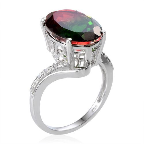 Tourmaline Colour Quartz (Ovl 8.50 Ct), Diamond Ring in Platinum Overlay Sterling Silver 8.530 Ct.