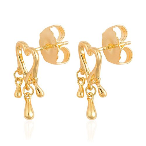 LucyQ Open Heart 3 Drip Silver Stud Earrings in Yellow Gold Overlay 3.21 Gms.
