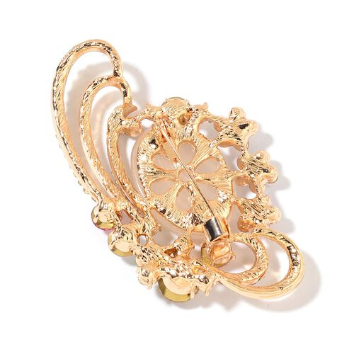 Designer Inspired- Simulated White Cats Eye and Multi Colour Austrian Crystal Brooch in Yellow Gold Tone