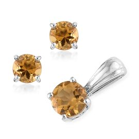 Citrine (Rnd) Solitaire Pendant and Stud Earrings (with Push Back) in Platinum Overlay Sterling Silver 1.500 Ct.
