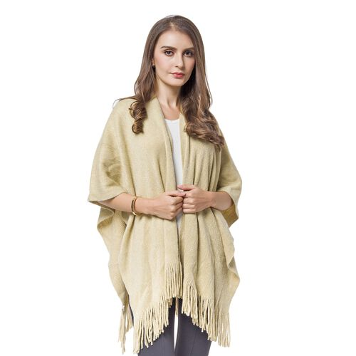 Italian Designer Inspired-Khaki and Silver Colour Kimono with Fringes (Size 90x65 Cm)