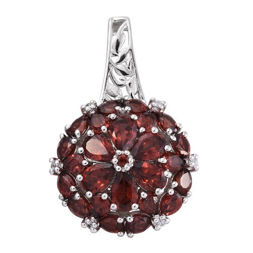 Mozambique Garnet (Pear), Natural Cambodian Zircon Floral Pendant in Platinum Overlay Sterling Silver 6.500 Ct.