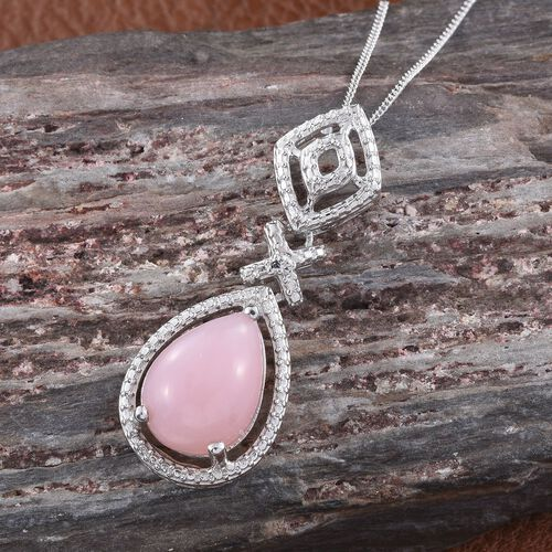 Natural Peruvian Pink Opal (Pear) Solitaire Pendant With Chain in Platinum Overlay Sterling Silver 4.500 Ct.