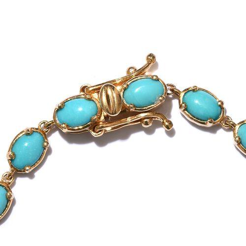 Arizona Sleeping Beauty Turquoise (Ovl) Bracelet (Size 7.5) in 14K Gold Overlay Sterling Silver 8.250 Ct.