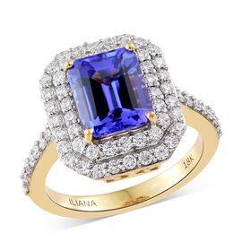 ILIANA 18K Yellow Gold 4.25 Ct AAAA Tanzanite Ring with Diamond (SI/G-H)