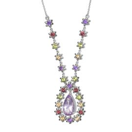 AAA Rose De France Amethyst (Pear 7.55 Ct), Rhodolite Garnet, Hebei Peridot, Amethyst and Citrine Necklace (Size 18) in Platinum Overlay Sterling Silver 14.500 Ct.