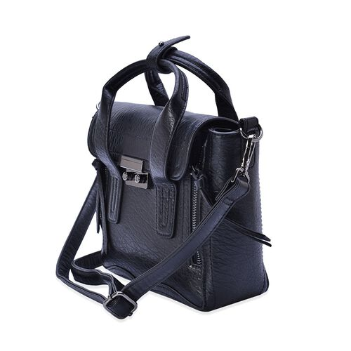 Black Colour Tote Bag with Adjustable and Removable Shoulder Strap (Size 28x20.5x10 Cm)