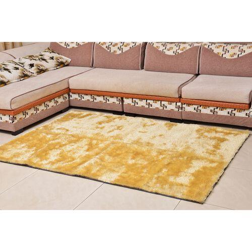Super-Plush Extra-Long Pile Beige Colour Lounge Carpet (Size 200x140 Cm)