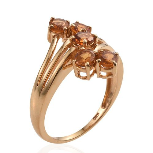 Citrine (Ovl) 5 Stone Crossover Ring in 14K Gold Overlay Sterling Silver 1.500 Ct.