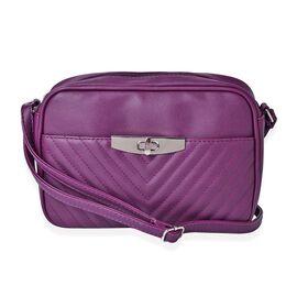 Purple Colour Crossbody Bag with Adjustable Shoulder Strap (Size 23.5x15.5x7 Cm)