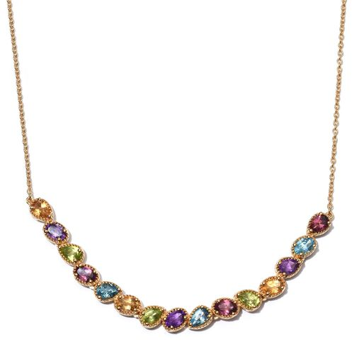 GP Rhodolite Garnet (Ovl), Electric Swiss Blue Topaz, Hebei Peridot, Amethyst, Citrine and Multi Gem Stone Necklace (Size 18) in 14K Gold Overlay Sterling Silver 7.500 Ct.
