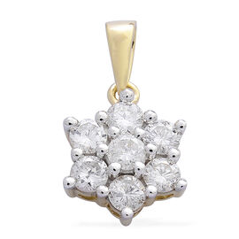 9K Yellow Gold 1 Carat Diamond 7 Stone Floral Pendant, SGL Certified I3 G-H
