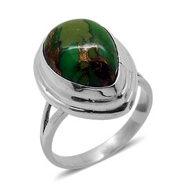 Royal Bali Collection Mojave Green Turquoise (Pear) Solitaire Ring in Sterling Silver 5.060 Ct.
