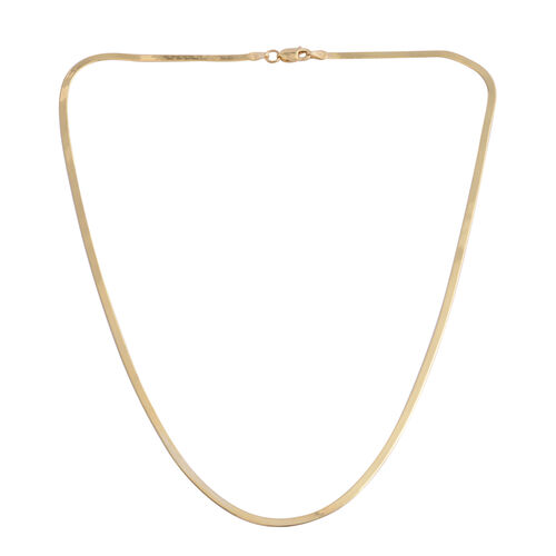 JCK Vegas Collection 14K Gold Overlay Sterling Silver Flattened Snake Chain (Size 18), Silver wt. 3.70 Gms.