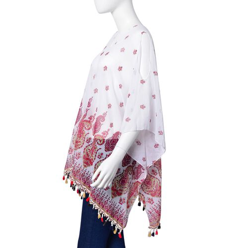 Pink, White and Multi Colour Paisley Motif Poncho with Tassels (Free Size)