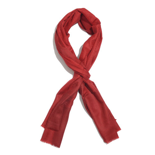 100% Cashmere Wool True Red Colour Zigzag Pattern Scarf with Fringes (Size 200X65 Cm)