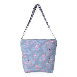 Grey and Pink Colour Flamingo Pattern Crossbody Bag with External Zipper Pocket (Size 31x30x24x10 Cm)