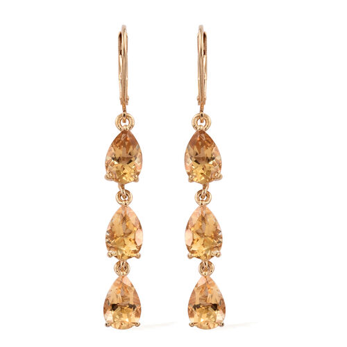 Citrine (Pear) Lever Back Earrings in 14K Gold Overlay Sterling Silver 7.000 Ct.
