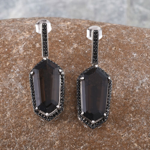 GP Brazilian Smoky Quartz, Boi Ploi Black Spinel and Kanchanaburi Blue Sapphire Earrings (with Push Back) in Platinum Overlay Sterling Silver 16.000 Ct.