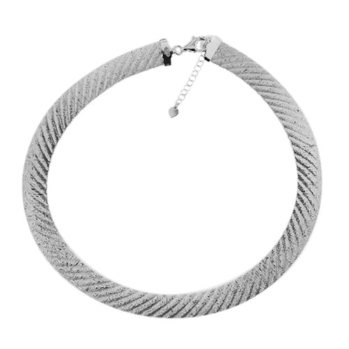 GP - Rhodium Plated Sterling Silver Omega Necklace (Size 18 with 2 inch Extender), Silver wt. 32.81 Gms.
