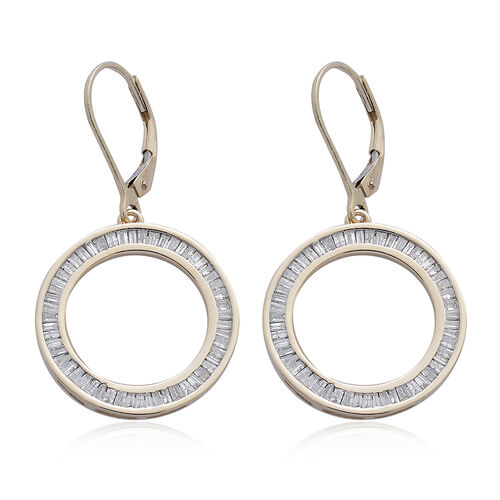 9K Y Gold SGL Certified Diamond (Bgt) (I3/ G-H) Lever Back Earrings 1.000 Ct., Gold wt 4.35 Gram