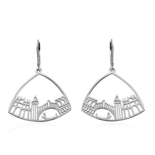 Platinum Overlay Sterling Silver Lever Back Earrings, Silver wt 5.00 Gms.