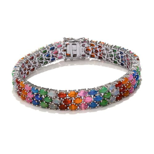 Ethiopian Welo Opal (Ovl), Blue, Pink, Red, Orange and Green Ethiopian Opal Bracelet in Platinum Overlay Sterling Silver (Size 8) 17.250 Ct.